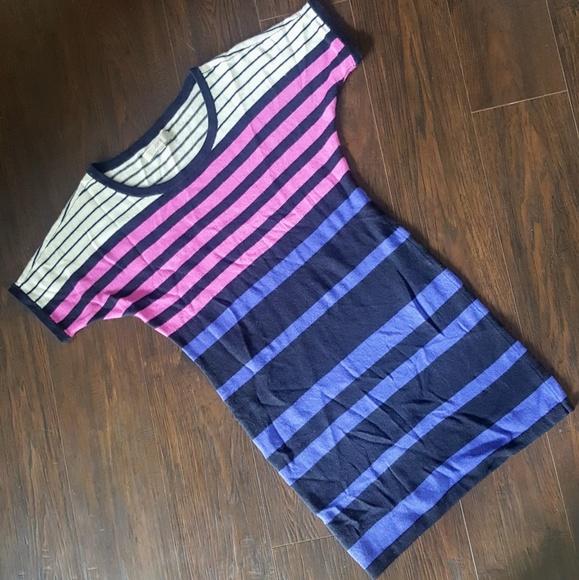 LOFT Dresses & Skirts - LOFT Color Block/Stripe Wool Sweater Dress Sz Sm